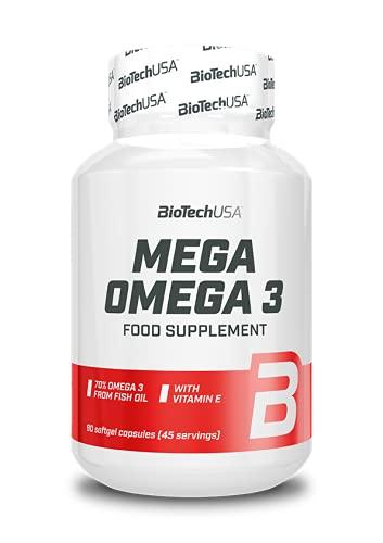 BioTechUSA Mega Omega 3, Integratore alimentare con, 70% di tenore di acidi grassi Omega-3 EPA e DHA in capsule softge, 90 capsule