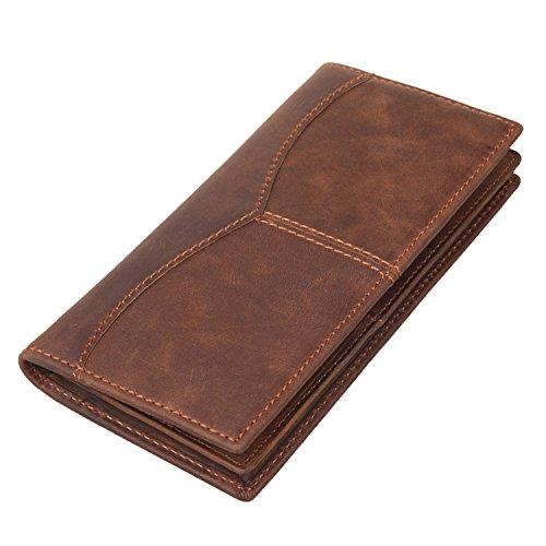 Texbo RFID Blocking Vintage Full Grain Leather Long Bifold Wallet for Men ID Cash Card Wallet Checkbook Credit Cards Holder