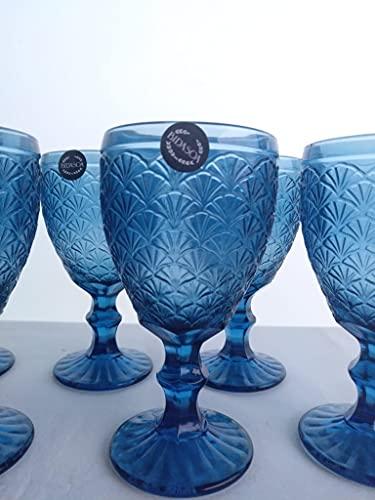 Copas Vidrio Bidasoa - 6 Copas 30 cl. Color Azul