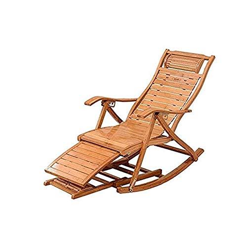 WFFF Sillón Moderno Mecedora Plegable Abatible Cama Plegable de bambú Chaise Lounge reclinable