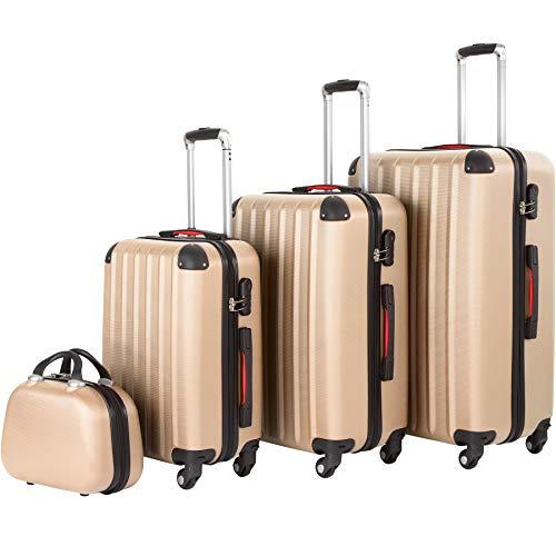 tectake 800763 Set di 4 Valigie ABS, Trolley da Viaggio, Scocca Rigida, Bagaglio con Rotelle Girevoli, Beauty Case -disponibile in diversi Colori (Champagne)