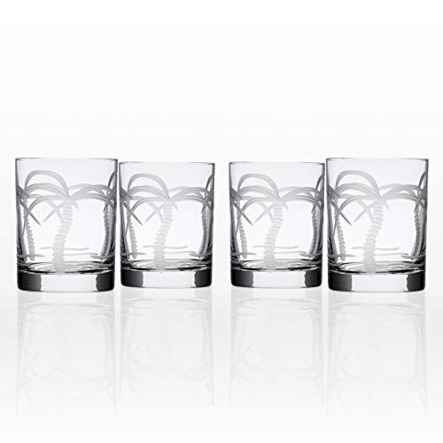 Rolf Glass Palm Tree Double Old Fashioned Glass (Set of 4), 14 oz, Clear