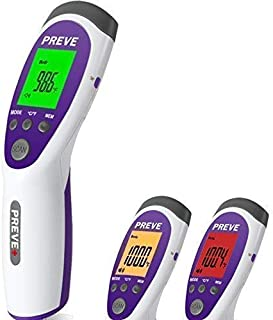 PREVE Non Contact Infrared Medical Clinical Forehead Thermometer for Infants Children Adults Multi-Function 3 in1 No Touch Instant Fever Detection