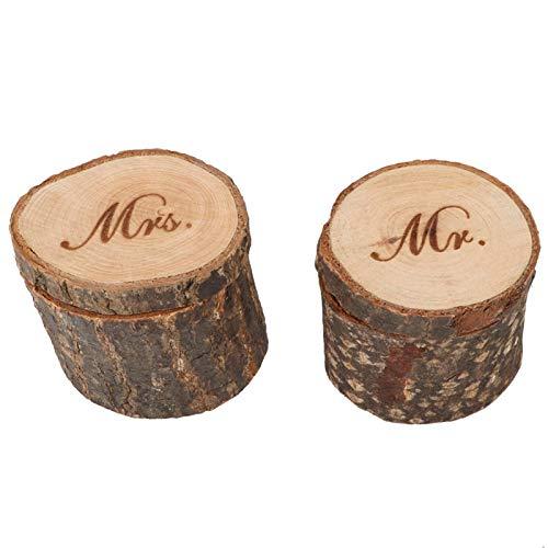 Caja de Anillo de Boda de 2 Piezas, Caja de Anillo de Madera rústica Mr and Mrs Ring Bearer Box Ring Holder Caja de Boda(Mr and Mrs)