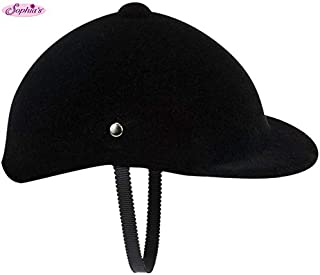 Sophia's 18 Inch Doll Hat Accessories Traditional Black Velvet English Style Riding Helmet with Strap Perfect for the 18 Inch American Girl Doll & More, Doll Horse Riding Helmet
