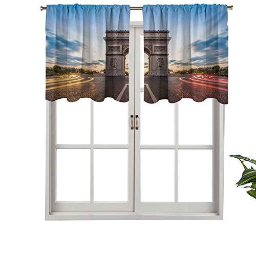 Cortina corta con bolsillo para barra de cortina, con cenefa, diseño de los Campos Elíseos, Avenida, Monumento histórico, cultura francesa, juego de 1, 137 x 45 cm para baño y cocina
