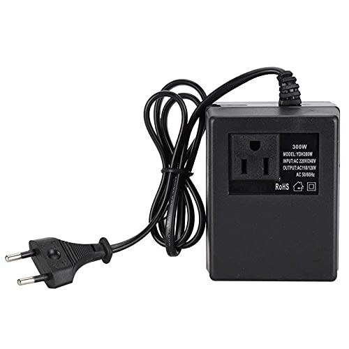 Adattatore per presa di corrente, convertitore di tensione da 300 W, CA da 220 V a 110 V, spina europea, 50 Hz / 60 Hz, da viaggio(EU Plug)