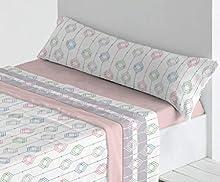 Trovador. Juego de sábanas de coralina. Cama de 90. Modelo Kenai. Color Rosa. 3 Piezas.