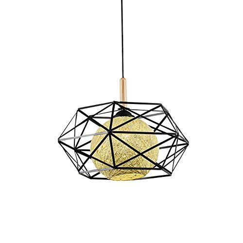 YAP Dormitorio ratán cáñamo Bola Pendiente de la luz de Techo de bambú ratán lámpara Colgante de Hierro Hueco lámpara del Vintage Industrial Loft Sala Comedor Lámpara Colgante E27