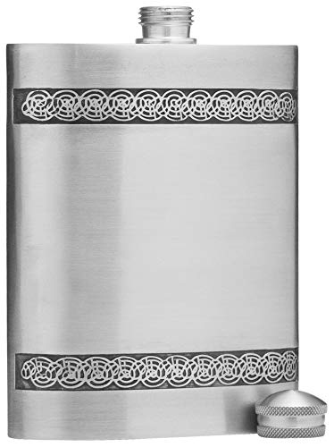 5 oz Celtic Knot Design Pewter Alcohol Liquor Flask in Silver Finish