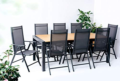 Outfit Textilene and Teak Effect Polywood Garden Dining Table Set, 9 Pieces with 8 Adjustable and Foldable Chairs for 8 People, Expandable Table, Suitable for Garden, Balcony or Patio