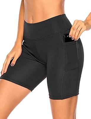RIOJOY Running Gym Shorts for Women High Waist Tummy Control Fitness Sports Cycling Yoga Short with Side Pocket