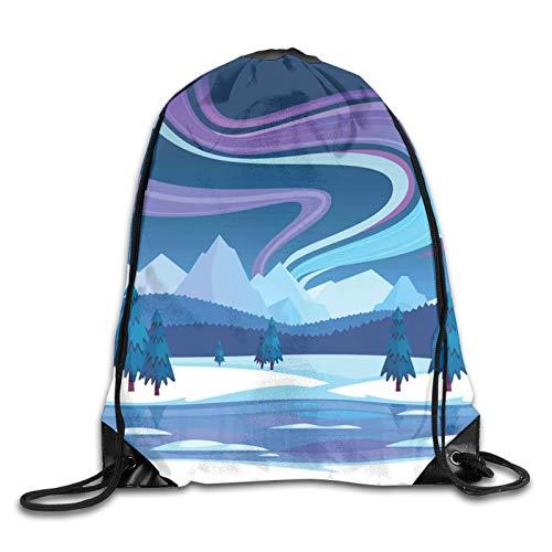 Drawstring Bag Sport Gym Sackpack-Aurora Borealis Composition Countryside...