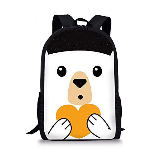 Bingyingne Encantadora caricatura oso corazón mochilas escolares para niños Mochilas Escolar