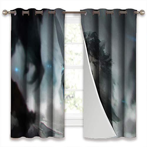 SSKJTC Cortinas opacas para ventana, juego de tronos, una criatura con una espada, para sala de estar, 106 x 115 cm