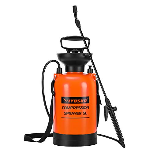 VIVOSUN 1.35 Gallon Lawn and Garden Pump Pressure Sprayer with Pressure Relief Valve, Adjustable Shoulder Strap
