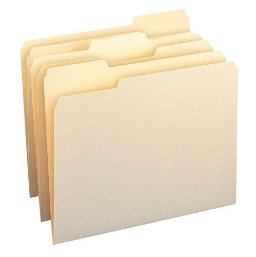 Smead 11928 Aktenordner, 1/3-Schnitt, verschiedene Positionen, Briefgröße, Manila, 24 Stück pro Packung