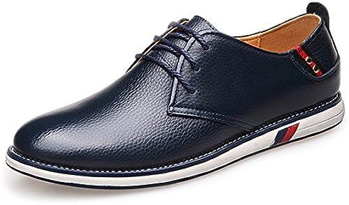JIALUN-Schuhe Klassische einfache Herrenschuhe aus echtem Rindsleder mit Schnürung und flachem Sohle für Herren (Farbe   Marine, Größe   38 EU)