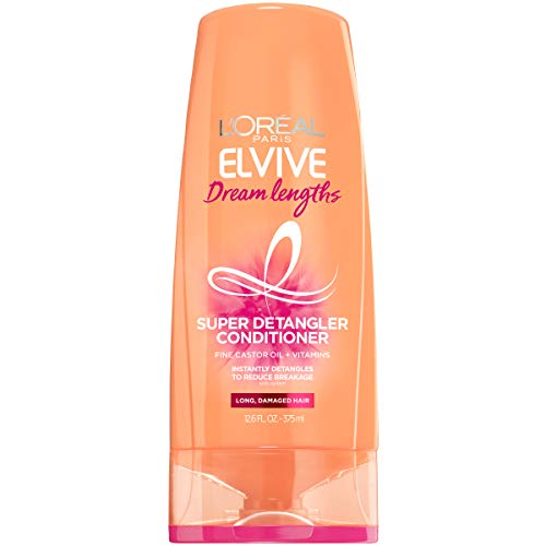 L'Oreal Paris Elvive Dream Lengths Super Detangling Conditioner with Fine Castor Oil & Vitamins B3 & B5 for Long, Damaged Hair, Instantly Detangles to reduce Breakage With System, 12.6 Fl. Oz