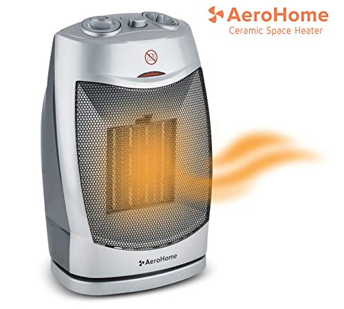 AeroHome 1500W / 750W Ceramic Oscillating Space Heater – Portable Oscillating Indoor Electric Heater with Overheat & Tip Over Protection – Personal Room Heater for Home Bedroom and Office Heater Portable Space