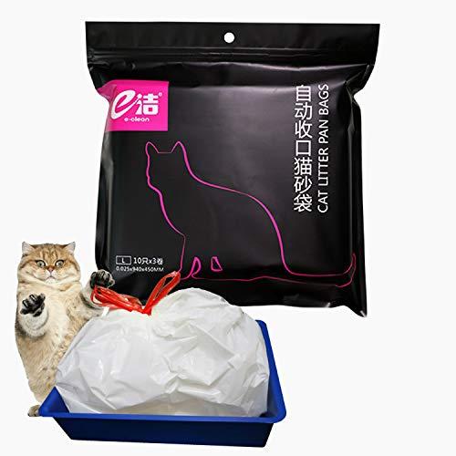 Kimswa 94 × 45 cm - 30 Pezzi Sacchetti Lettiera Gatto Borsa con Coulisse, Adatto a Servizi Igienici di Grandi e Medie Dimensioni, Borsa per Rifiuti Animali