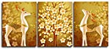 YaShengZhuangShi Pintura de Arte en Lienzo 3x20x35cm sin Marco Pintura Decorativa tríptico Golden Elks Cuadro de Pared póster e impresión Sala de Estar
