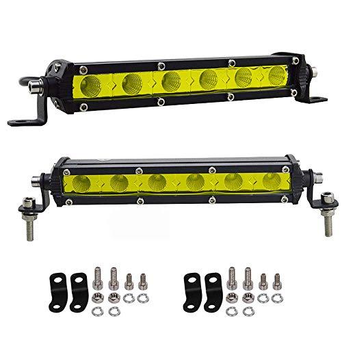 AUXTINGS LED-Scheinwerfer, 2 x 17,8 cm, 30 W, Gelb, einreihig, 3000K,niedriges Profil,ultradünn,Mini-Flutlicht,Off-Road-Lichter