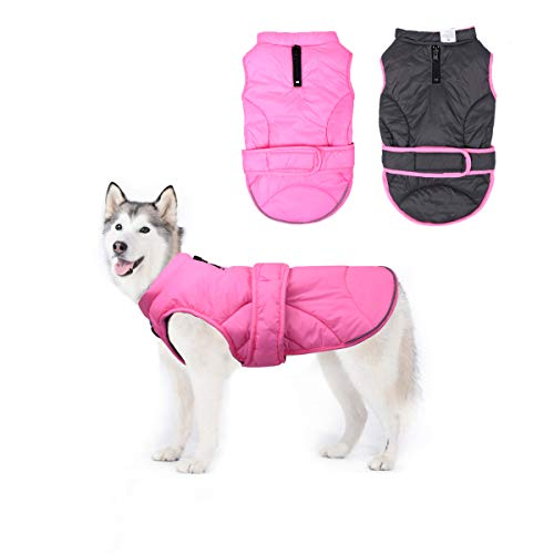 Vehomy Dog Down Coat Waterproof Windproof Reversible Dog Winter Coat Lightweight Warm Dog Jacket Reflective Dog Vest Coat Apparel Cold Weather Dog Clothes for Small Medium Large Dogs Pink-XL