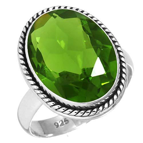 925 Sterling Silver Women Jewelry Peridot Quartz Ring Size Q 1/2 (99041_PER_R12.5)