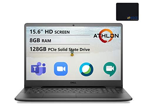Dell Inspiron 15.6' HD Laptop, AMD Athlon Silver 3050U Processor, 8GB DDR4 Memory, 128GB PCIe SSD, Online Class Ready, Webcam, WiFi, HDMI, Bluetooth, KKE Mousepad, Win10 Home, Black