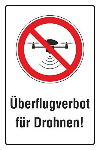 Schild Überflugverbot Drohnen Überflug verboten Quadrocopter 3 mm Alu-Verbund 300 x 200 mm