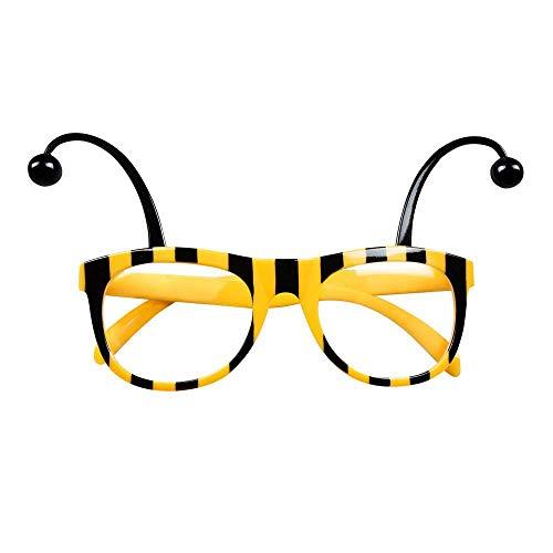 Boland 02593 - Partybrille Biene, 1 Stück, Größe 15,5 x 10 cm, Gestell aus Kunststoff, gelb-schwarze Streifen, mit Fühler, Honigbiene, Königin, Accessoire, Hummel, Verkleidung, Karneval, Tier