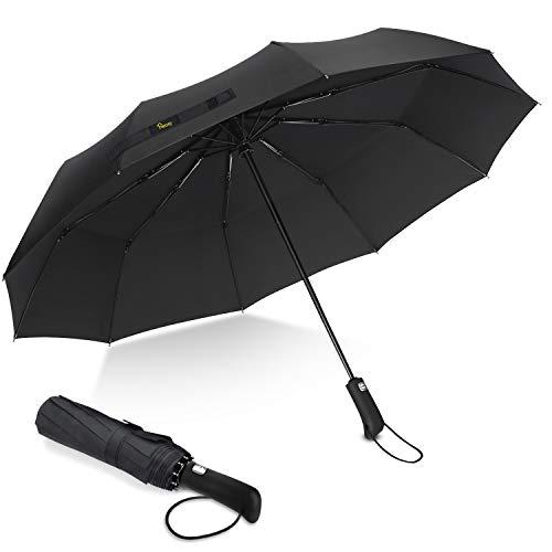 Parapluie Pliant, Heasy Parapluie Coupe-Vent, Léger, Incassable, 10 Baleines Parapluie de Voyage Ouverture et Fermeture Automatique avec Revêtement en Téflon pour Hommes et Femmes (Noir) …