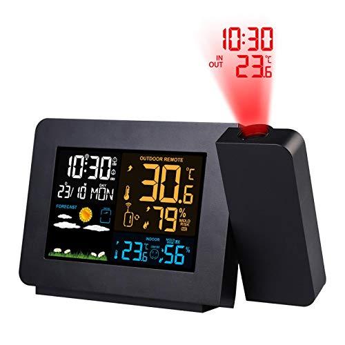 Wecker Wecker Projektion Uhr Thermometer Hygrometer Wireless Wetterstation Digital Uhr Snooze Schreibtisch Tisch Projekt Funkuhr Schwarz
