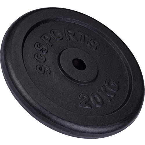 ScSPORTS 20 kg Hantelscheibe Guss, Gewicht für Langhantel- und Kurzhantel-Stangen, 30/31 mm Bohrungm, geprüft und bestanden durch Intertek Siehe Hinweis 1