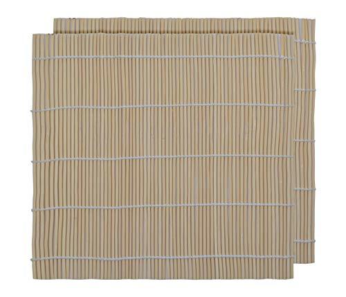 Alsino 2er Set Sushimatte Sushirolle umweltfreundliche Bambusmatte DIY Anfänger Starterset Sushi Kit Rollmatte Küchen Zubehör aus Bambus, Hellbraun