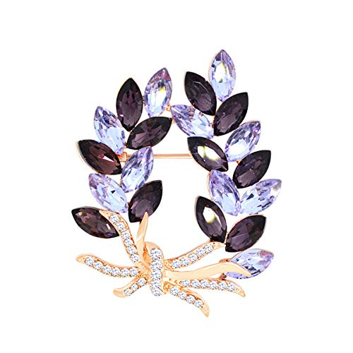 Merdia ブローチレディース エレガント 輝きピン オリーブ リーフ風ブローチ ファッションブローチ ピンブローチ 結婚式 アクセサリー (ゴールドパープル)