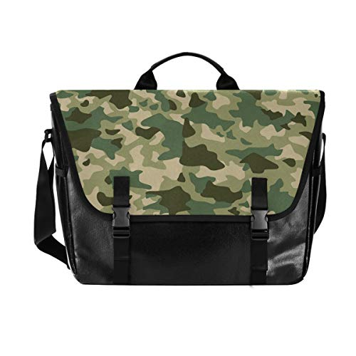 Hunihuni Messenger Bag Forest Camo Camouflage Canvas Laptop Briefcase Tote Satchel Bag for Men with Shoulder Strap Suit for 15 Inch