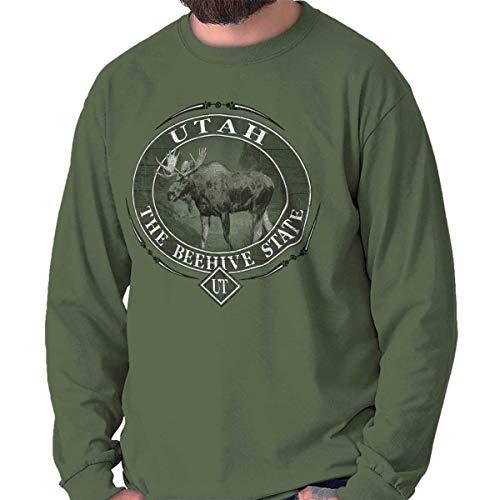 Classic Teaze Utah Beehive State Mountain Moose UT Gift Long Sleeve Tee Military Green