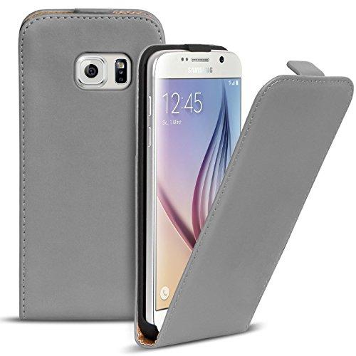 Preisvergleich Produktbild Conie BF34424 Basic Flip Kompatibel mit Samsung Galaxy S6,  PU Leder Hülle Cover Klapphülle für Galaxy S6 Tasche Grau