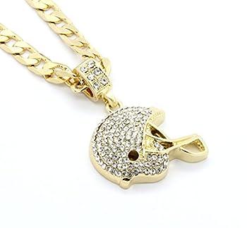 Mens Gold Tone Football Helmet Small Pendant 6mm 24  Cuban Chain Necklace