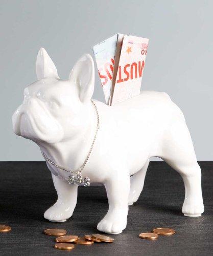 Spardose Mops stehend aus weißer Keramik mit silbernem Halsband 19 x 15 cm