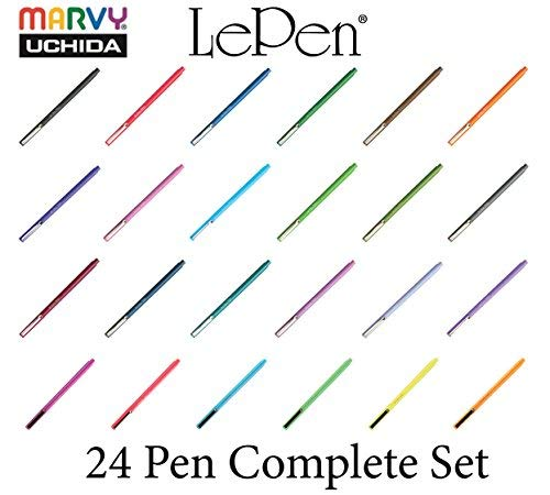 Marvy Uchida Le Pen Complete Set of 24 Markers- All Colors #4300