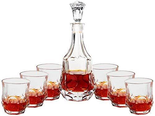 Decantadores Copa de Vidrio para el hogar Conjunto de vinos de Vino Estilo Europeo Creativo Cubierto con escarchado Botella de Vino Rojo