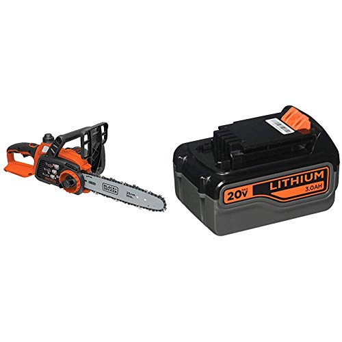 BLACK+DECKER 20V MAX Cordless Chainsaw with Lithium Battery 3.0 Amp Hour (LCS1020B & LB2X3020-OPE)