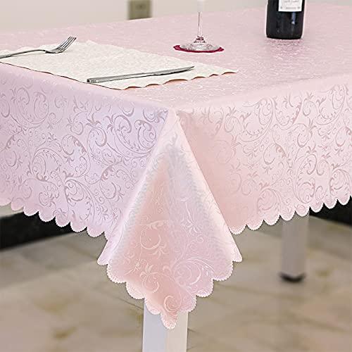 ZZHEXIN Mantel de poliuretano lavable, impermeable, antigrasa, lavable a máquina, fácil de limpiar, para cocina, restaurante, jardín, baño, color rosa, 140 x 180 cm