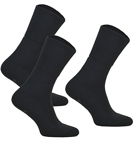 3paar ohne Kompression Baumwollsocken MEDIC DEO COTTON für Diabetiker Damen und Herren Antibakteriale Gesundheits Socken (Schwarz, 3 paar: 41-43)