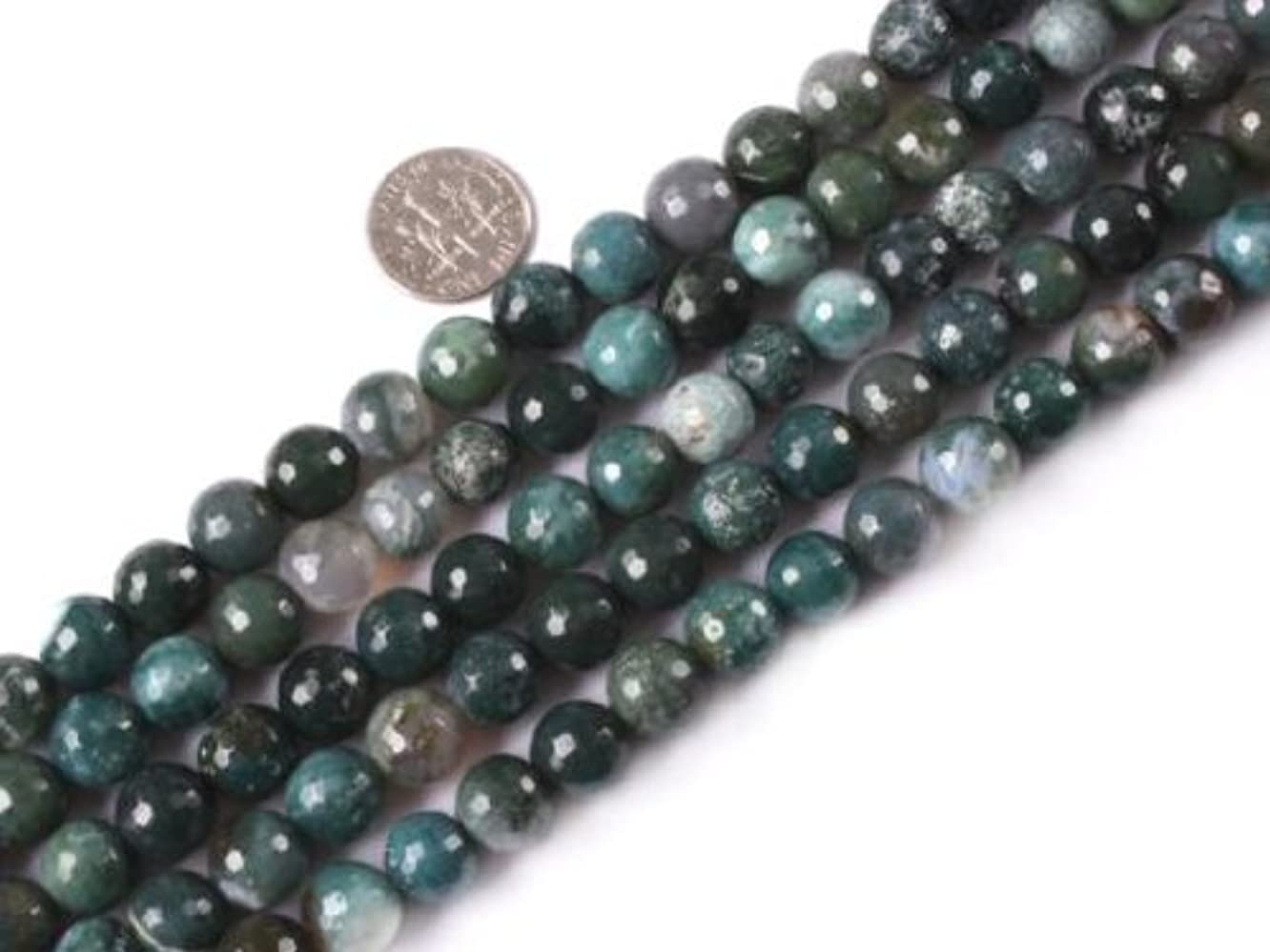 10mm round faceted gemstone moss agate beads strand 15