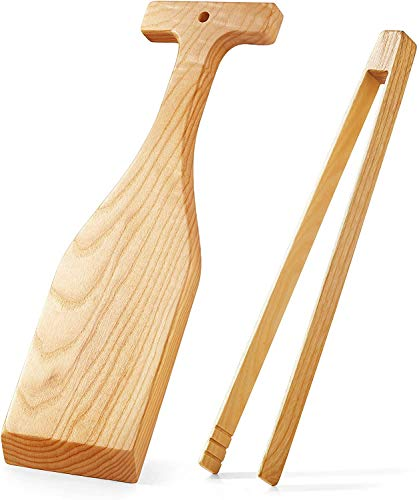 """Wooden Grill Scraper (set of 2) 17"""" Wooden BBQ Grill Brush Cleaner &16"""" Wooden Tongs, Natural Oak Wood - No Bristles - No Metal - No Toxic Chemicals - Safe Replacement for Wire Bristle Brush (17 inch)"""