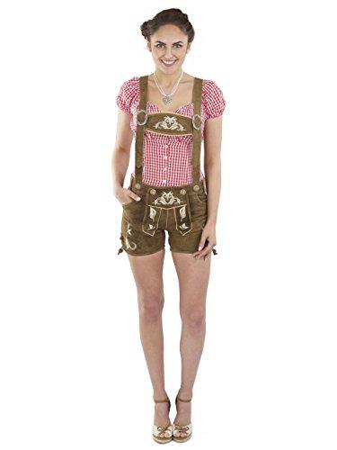 Damen Kolibri Trachtenlederhose kurz Trachten Alternative zum Dirndl - braun Hotpants echtes Leder Hose Trachtenhose (40, Dunkelbraun)
